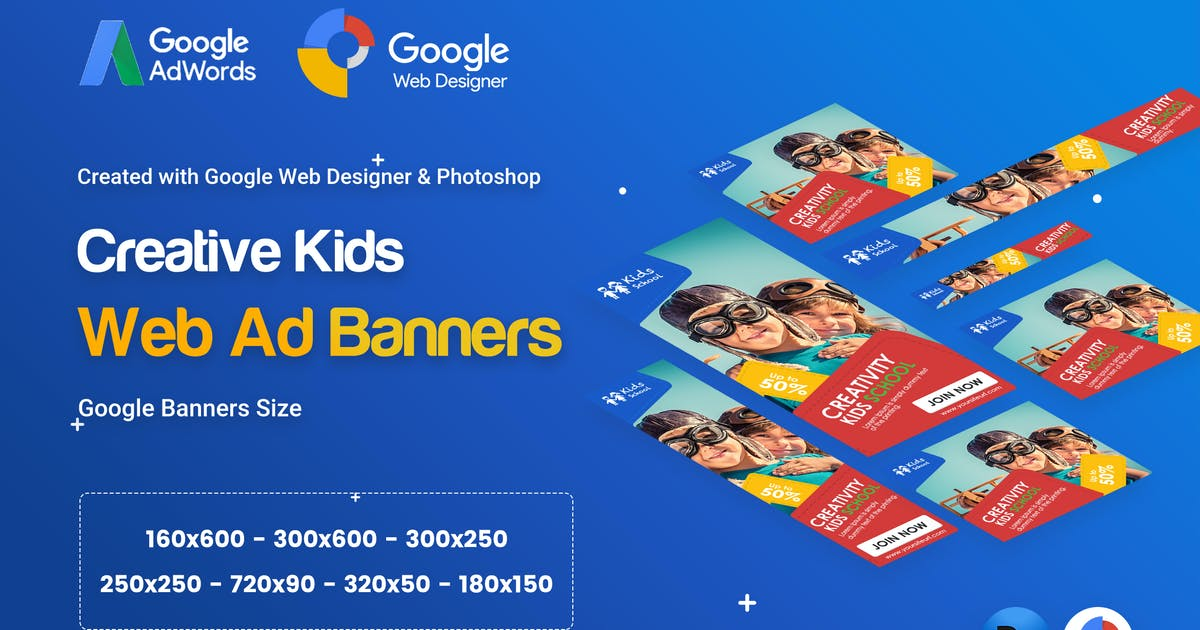 Kids Creative & School Banners Ad - GWD & PSD by iDoodle