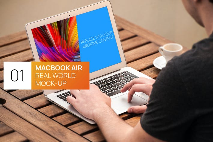 Thumbnail for Person Using MacBook Air Real World Photo Mock-up