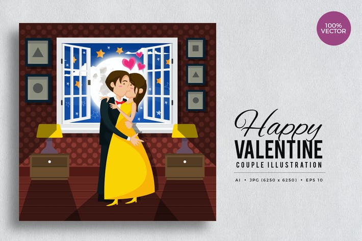 Thumbnail for Romantic Valentine Couple Kiss Vector Vol.3