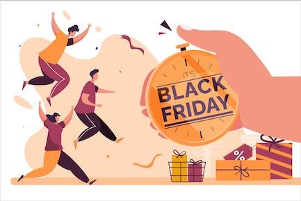 Black Friday Limited Angebot - Flache Illustration