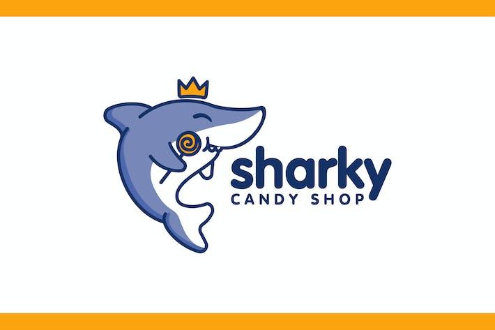 Thumbnail for Cartoon Cute Shark Holding Candy Mascot Logo