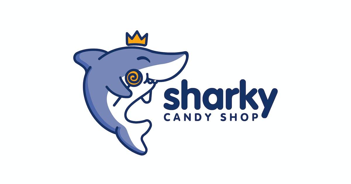 Download Cartoon Cute Shark Holding Candy Mascot Logo by Suhandi