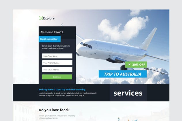Explore - Travel Unbounce Template - product preview 0