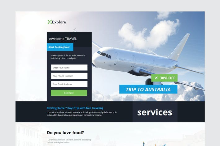 Thumbnail for Explore - Travel Unbounce Template