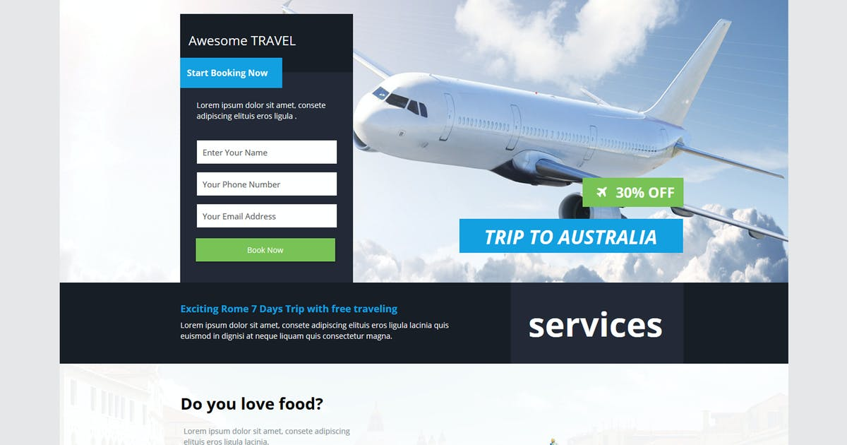 Download Explore - Travel Unbounce Template by xvelopers