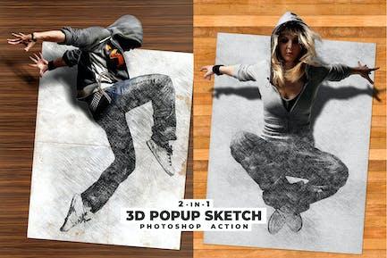 3D Popup Sketch Photoshop Action
