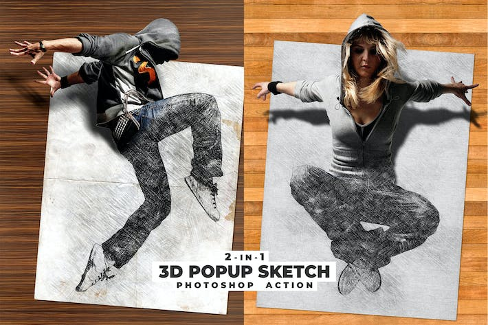 Thumbnail for 3D Popup Sketch Photoshop Action