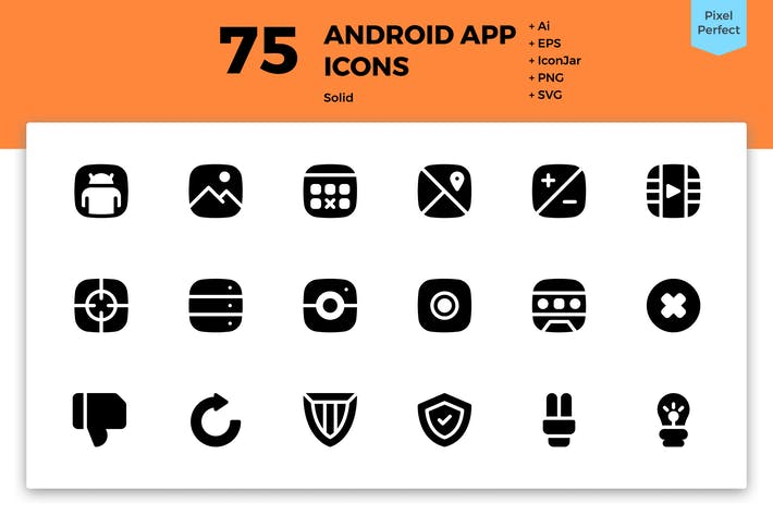 Thumbnail for 75 Android App Icons (Solid)
