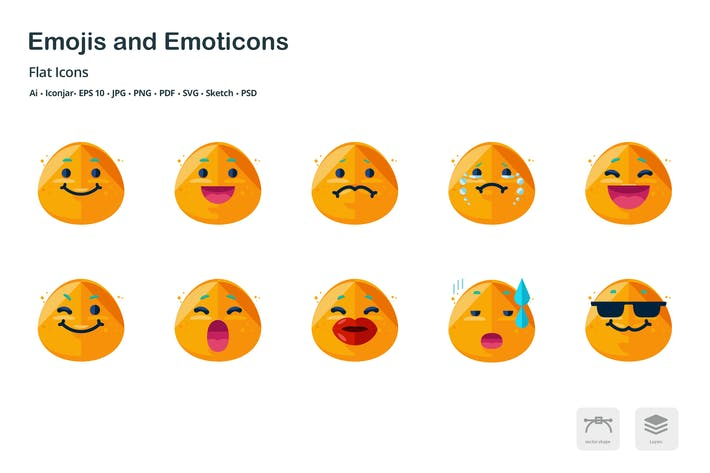Thumbnail for Emojis and Emoticons Flat Colored Icons