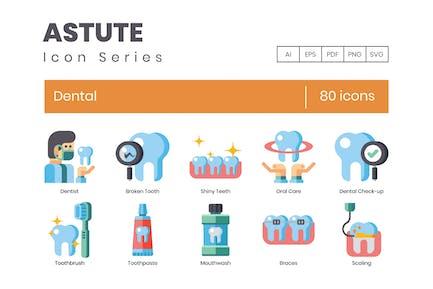 80 Dental Flat Icons