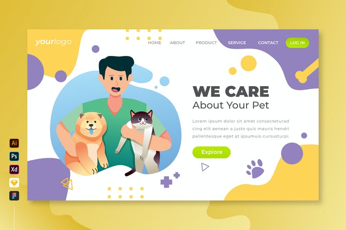 Thumbnail for We Care Your Pet - Vector Landing Page Vol.6