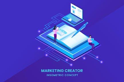 Marketing Creator - Isometric Vector