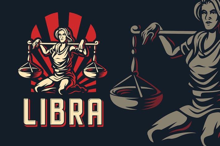 Libra Zodiac Sign Logo Template