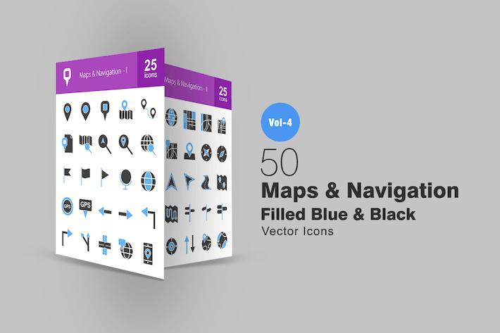 Thumbnail for 50 карт и навигации Голубые и черные Иконки