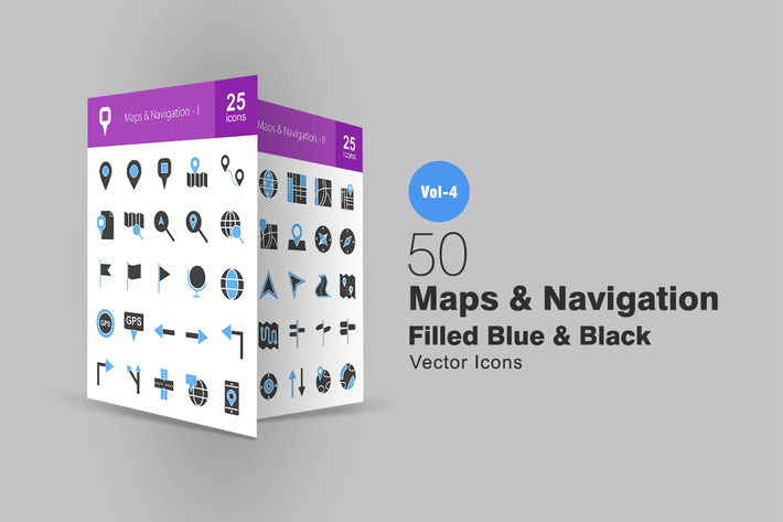 Thumbnail for 50 Maps & Navigation Blue & Black Icons