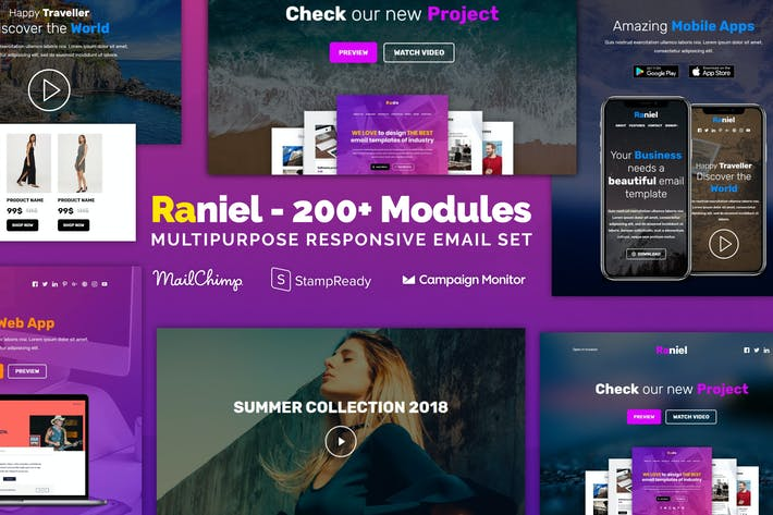 Cover Image For Raniel - Responsive Email with 200+ Modules