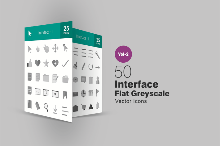 Thumbnail for 50 Interface Greyscale Icons