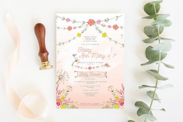 Floral Pink Baby Shower Invitation