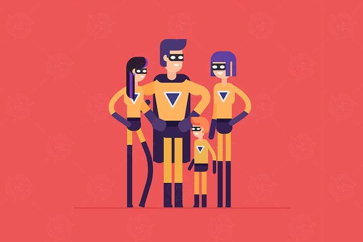 Thumbnail for Superheroes family - flat design illustration