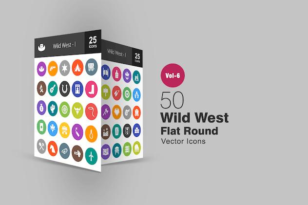 50 Wild West Glyph Multicolor BG  Icons