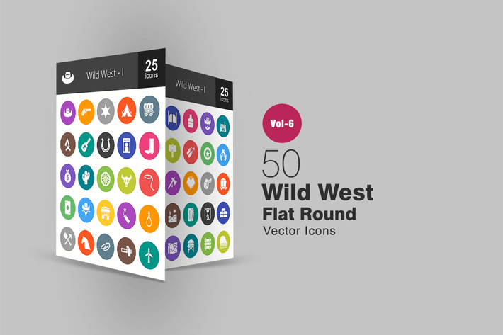 Thumbnail for 50 Wild West Glyph Multicolor BG  Icons
