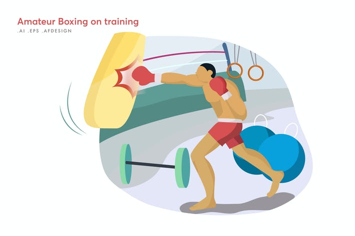 Thumbnail for Amateur Boxing on training Vector Illustration