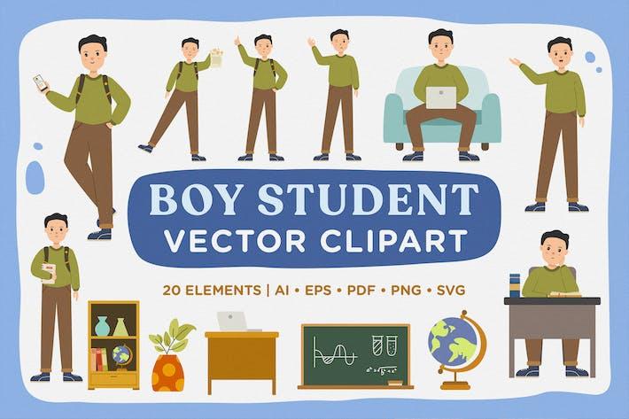 Thumbnail for Boy Student Life Modular Vector Clipart Pack