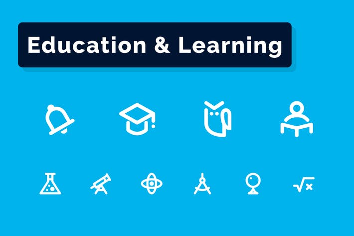 Bildung & Lernen Icons Set