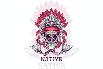skull head indian native illustration