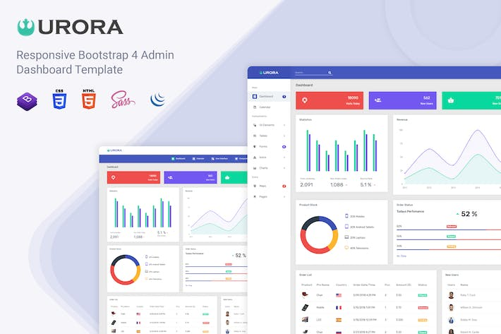 Thumbnail for Urora - Material Design Admin Dashboard Template