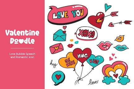 Valentine Doodle, Love Bubble Speech and Romantic