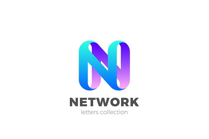 Letter N Logo design 3D Ribbon style