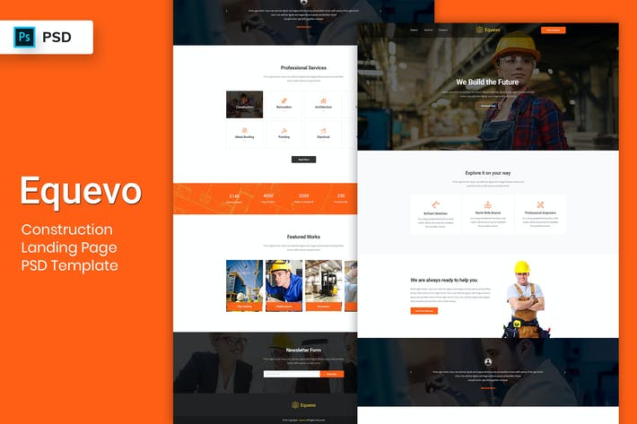 Thumbnail for Construction - Landing Page PSD Template