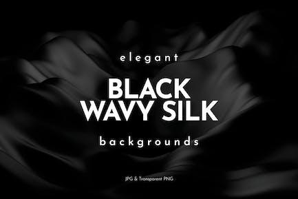 Fondos de seda ondulada de color negro elegante
