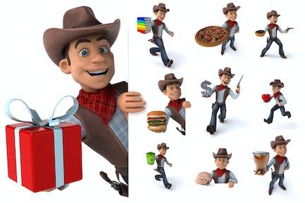 10 fun cartoon Cowboys !