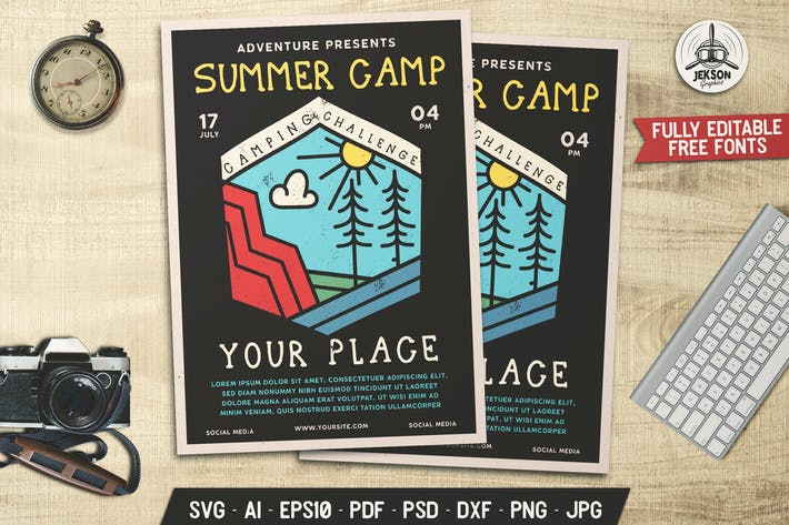 Summer Camp Flyer Template Camp Challenge