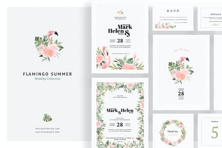 Invitations de mariage d'été Flamingo