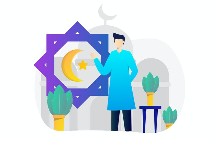 Thumbnail for Eid Mubarak Concept Flat Design