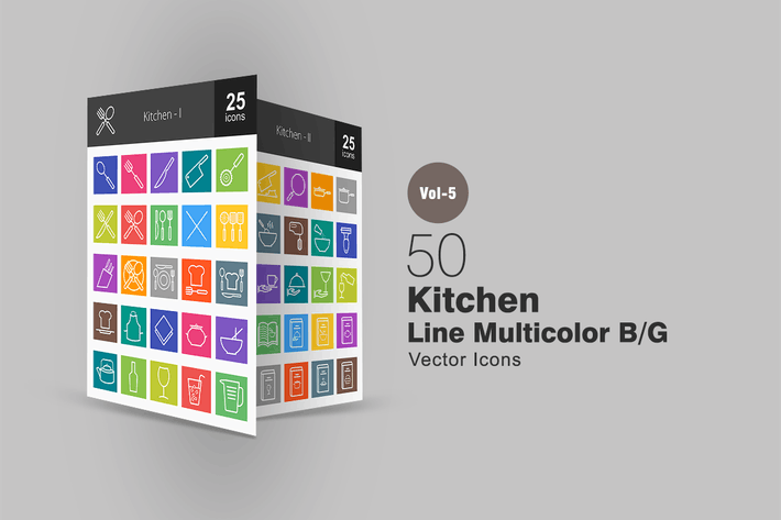 Thumbnail for 50 Kitchen Line Multicolor Icons
