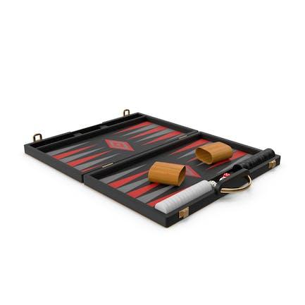 Juego de juego de mesa de backgammon negro