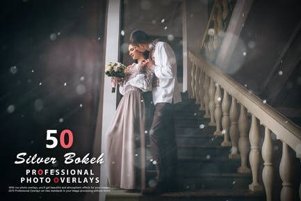 50 Silver Bokeh Photo Overlays