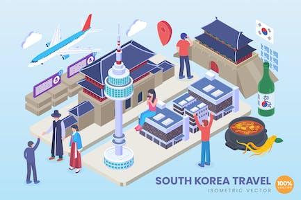 Isometric South Korea Travel Vector Concept