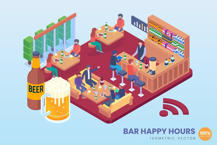 Thumbnail for Isometric Bar Happy Hours Vector Concept