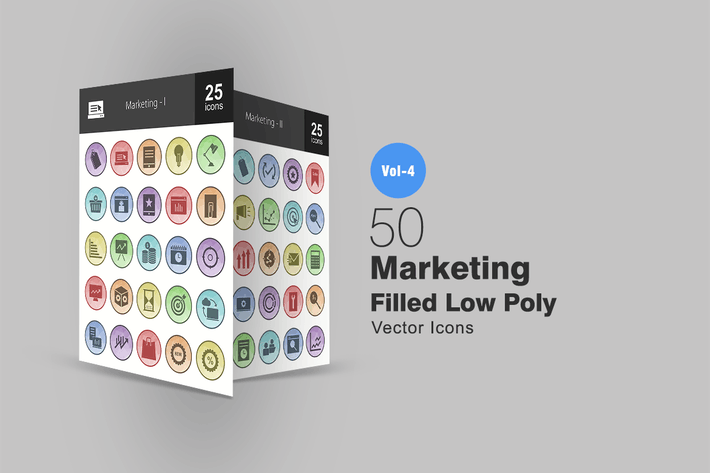 Thumbnail for 50 Marketing Filled Low Poly Icons