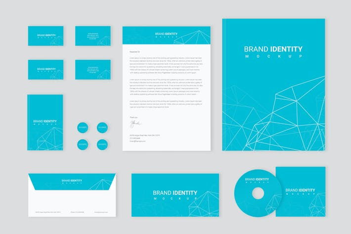 Thumbnail for Brand Identity Set: Network Polygon