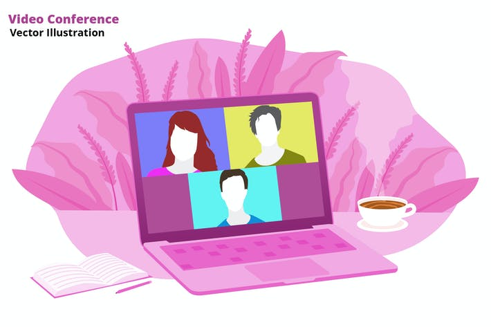 Video konferenz - Vektor illustration