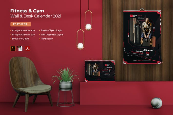 Thumbnail for Fitness and Gym Wall & Desk Calendar 2021