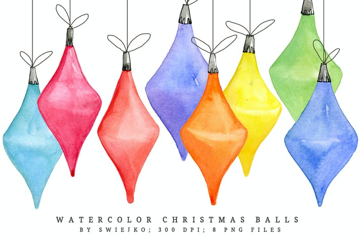 Cover Image For Watercolor Christmas Balls I