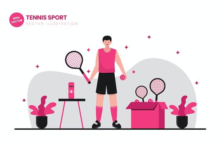 Thumbnail for Tennis Sport Flat Vector Illustration