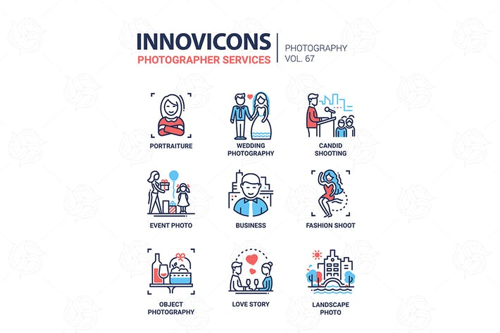 Thumbnail for Photographer services - line design icons set